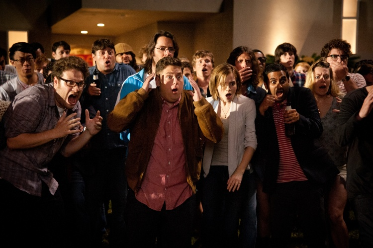 """L-r front, Seth Rogen, Jonah Hill, Emma Watson and Aziz Ansari star in Columbia Pictures' """"This Is The End,"""" also starring James Franco, Jay Baruchel, Danny McBride and Criag Robinson."""