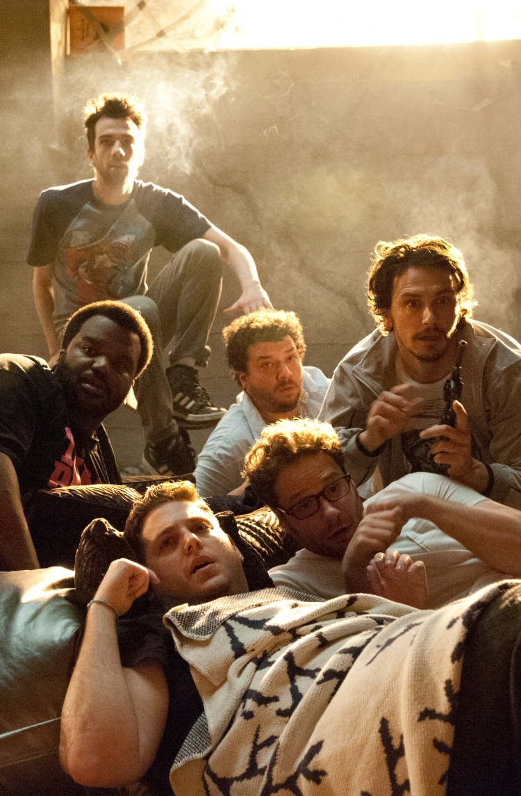 "Clockwise from top left, Jay Baruchel, Danny McBride, James Franco, Seth Rogen, Jonah Hill and Craig Robison star in Columbia Pictures' ""This Is The End."""