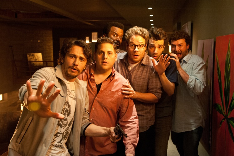 "L-r, James Franco, Jonah Hill, Craig Robinson, Seth Rogen, Jay Baruchel and Danny McBride star in Columbia Pictures' ""The End of the World."""