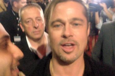 Brad Pitt with His Master's Review Editor Joseph Rana at the Australian Premiere of World War Z.
