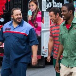 Eric Lamonsoff (Kevin James), Lenny Feder (Adam Sandler), Kurt McKenzie (Chris Rock) and Kitty (Kris Murrell) walking down the street in Columbia Pictures' GROWN UPS 2.