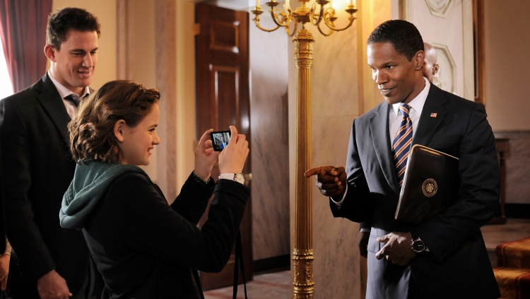 "L-r, Channing Tatum, Joey King and Jamie Foxx star in Columbia Pictures' ""White House Down."""
