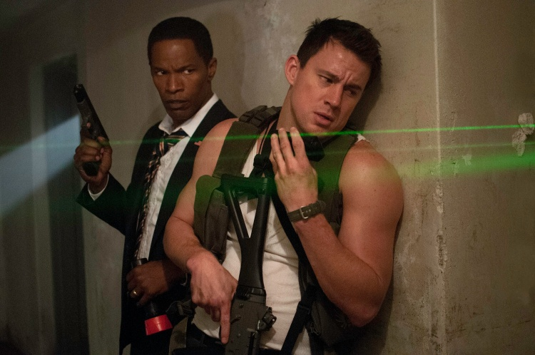 "Jamie Foxx, left, and Channing Tatum star in Columbia Pictures' ""White House Down."""