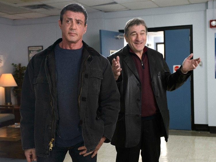 "Copyright: © 2013 WARNER BROS. ENTERTAINMENT INC.  Photo Credit: Ben Rothstein  Caption: (L-r) SYLVESTER STALLONE as Henry ""Razor"" Sharp and ROBERT DE NIRO as Billy ""The Kid"" McDonnen in Warner Bros. Pictures' comedy ""GRUDGE MATCH,"" a Warner Bros. Pictures release."