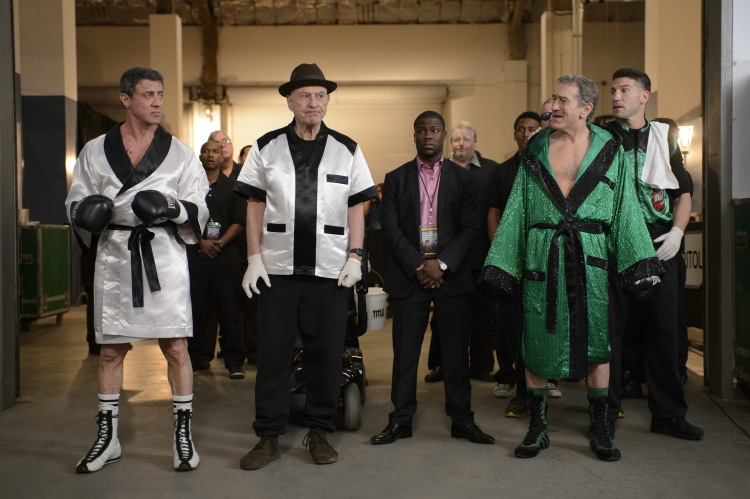 "Copyright: 2013 WARNER BROS. ENTERTAINMENT INC.  Photo Credit: Ben Rothstein  Caption: (L-r) SYLVESTER STALLONE as Henry ""Razor"" Sharp, ALAN ARKIN as Louis ""Lightning"" Conlon, KEVIN HART as Dante Slate , Jr., ROBERT DE NIRO as Billy ""The Kid"" McDonnen and JON BERNTHAL as BJ in Warner Bros. Pictures' comedy ""GRUDGE MATCH,"" a Warner Bros. Pictures release."