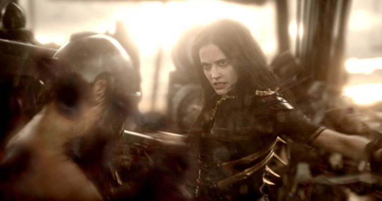 "300ROAE-FP-0009 Film Name: 300: RISE OF AN EMPIRE Copyright: © 2014 WARNER BROS. ENTERTAINMENT INC. AND LEGENDARY PICTURES FUNDING, LLC. Photo Credit: Courtesy of Warner Bros. Pictures Caption: EVA GREEN as Artemisia in Warner Bros. Pictures' and Legendary Pictures' action adventure ""300: RISE OF AN EMPIRE,"" a Warner Bros. Pictures release."