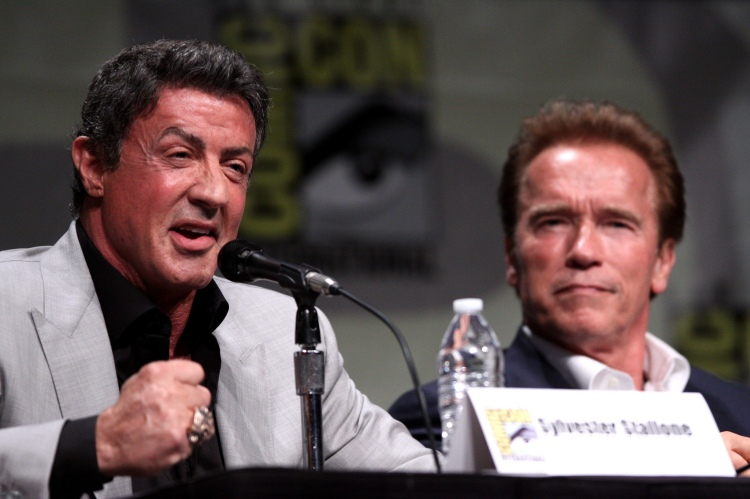 License     AttributionShare Alike Some rights reserved by Gage Skidmore  Sylvester Stallone & Arnold Schwarzenegger           2     1       Next Sylvester Stallone & Arnold Schwarzenegger speaking at the 2012 San Diego Comic-Con International in San Diego, California.