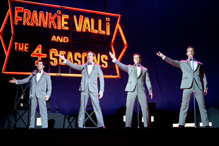 "JB-03014r Film Name: JERSEY BOYS Copyright: © 2014 WARNER BROS. ENTERTAINMENT INC. AND RATPAC ENTERTAINMENT Photo Credit: Keith Bernstein Caption: (L-r) JOHN LLOYD YOUNG as Frankie Valli, ERICH BERGEN as Bob Gaudio, VINCENT PIAZZA as Tommy DeVito and MICHAEL LOMENDA as Nick Massi in Warner Bros. Pictures' musical ""JERSEY BOYS, "" a Warner Bros. Pictures release."