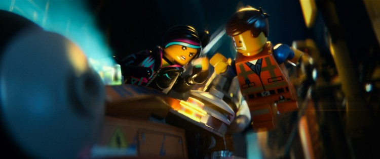 "LG-TT-0079 Film Name: THE LEGO® MOVIE Copyright: (C) 2014 WARNER BROS. ENTERTAINMENT INC. Photo Credit: Courtesy of Warner Bros. Pictures Caption: (L-r) LEGO® minifigures Wyldstyle (voiced by ELIZABETH BANKS) and Emmet (CHRIS PRATT) in the 3D computer animated adventure ""The LEGO® Movie,"" from Warner Bros. Pictures, Village Roadshow Pictures and Lego System A/S. A Warner Bros. Pictures release."